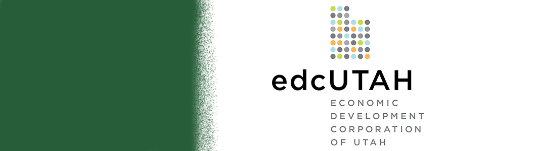 edc UTAH logo on right side with green color on left side