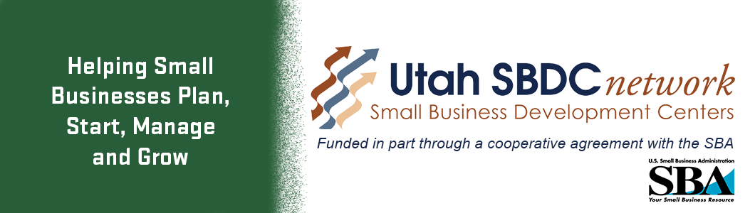 Utah Small Business Development Center logo, acknowledgement, and SBA logo on right with green background on left that says helping small businesses plan, start, manage and grow