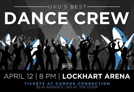 The 7th Annual UVU Best Dance Crew is a dancing competition among auditioned UVU student crews who are competing for the $500 cash prize. The event will be held in the UVU LockHart Arena April 12th at 8 pm. Tickets are $5 in advance at Campus Connection and $10 at the door.