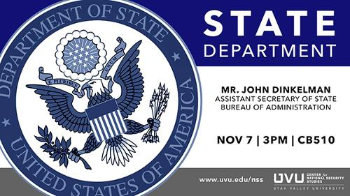 Please come join us on our info session with Mr. John Dinkelman - Assistant Secretary of State Bureau of Administration