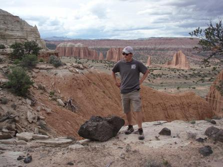 Matt Want surveying land at Capitol Reef National Park