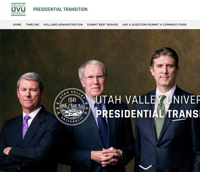 UVU presidential transition site