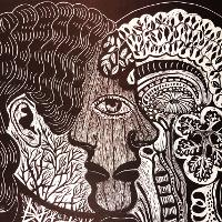 abstract drawing of two heads