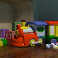 painting of a toy train