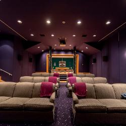 A view of the jewel-toned home theater