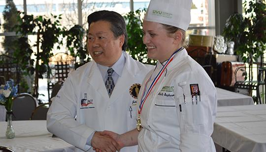 Michelle Stephenson, a culinary arts major at UVU, has won the honor of Western Region Student Chef of the Year at the American Culinary Federation competition.