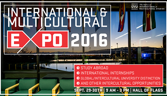 Come learn about study abroad, international internships, domestic multicultural experiences, and other intercultural opportunities at the International & Multicultural Expo on Sept. 29-30.