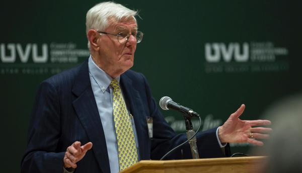Two-time Pulitzer Prize-winning historian Gordon Wood, and British scholars from the Magna Carta Project, participated Feb. 17 in UVU's commemoration of the 800th anniversary of Magna Carta.
