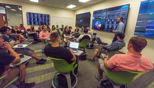 The NUVI Social Media Command Center is a new facility on UVU's Orem campus that provides students with engaged learning experiences and hands-on training in a professional environment.