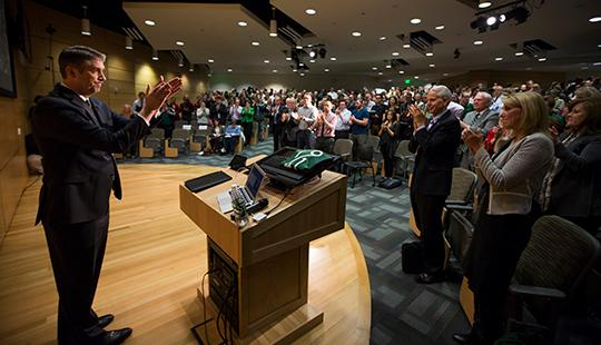 President Matthew S. Holland's annual State of the University address kicked off a yearlong celebration of UVU's 75th anniversary.