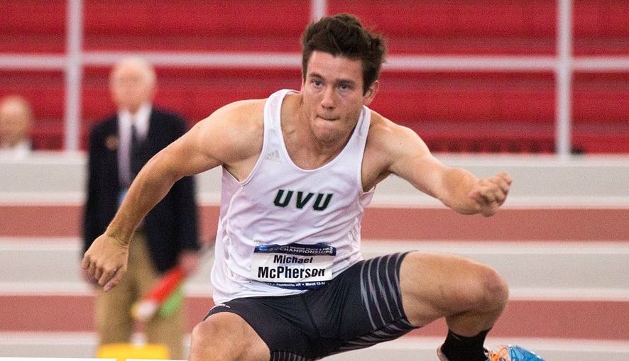 Senior Michael McPherson earned second-team All-American status at the NCAA Indoor Championships, a first for indoor track and field at UVU.