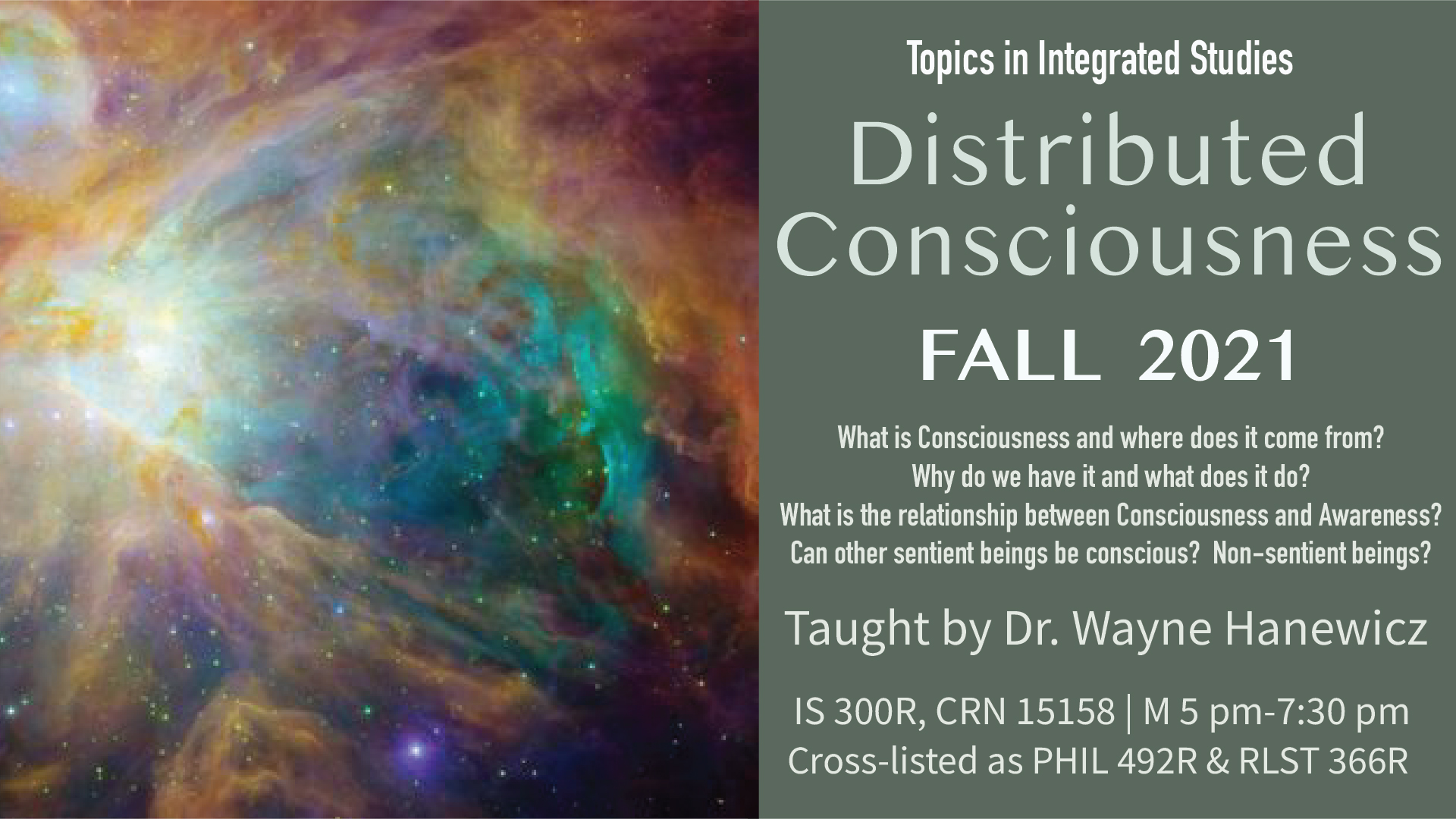 Distributed Consciousness Fall 2021 course poster