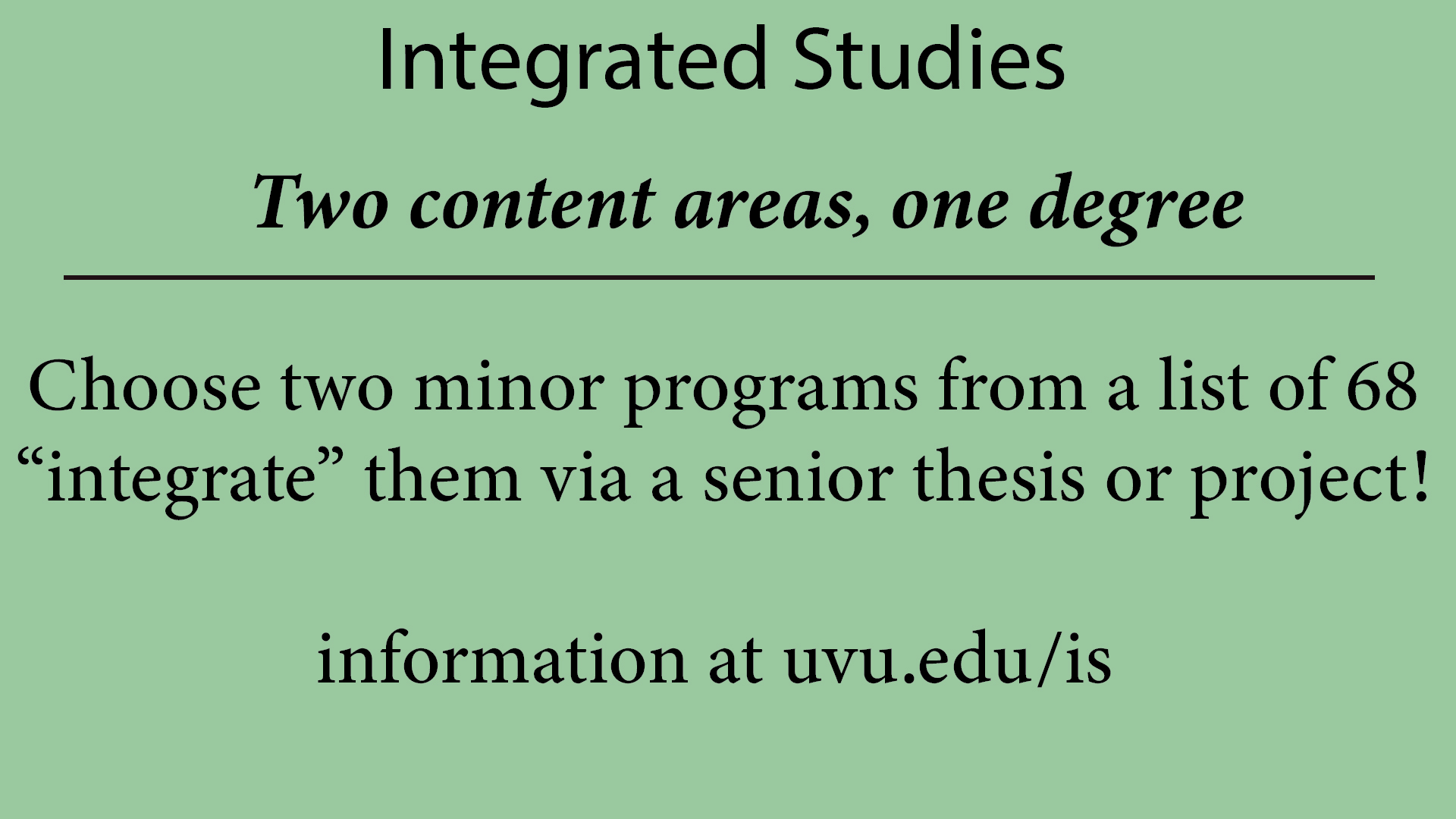 two content areas, one degree