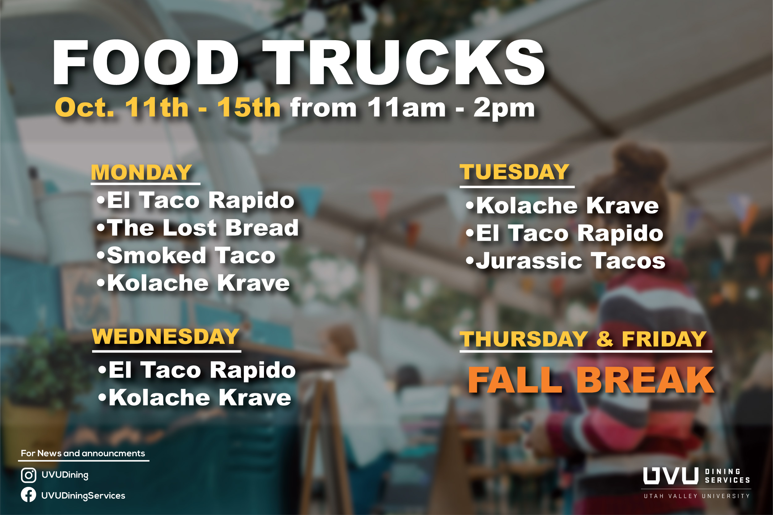 Food Truck Oct. 11th - 15th