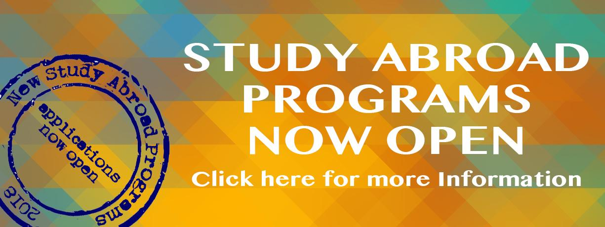 Study Abroad Programs 2018 now open