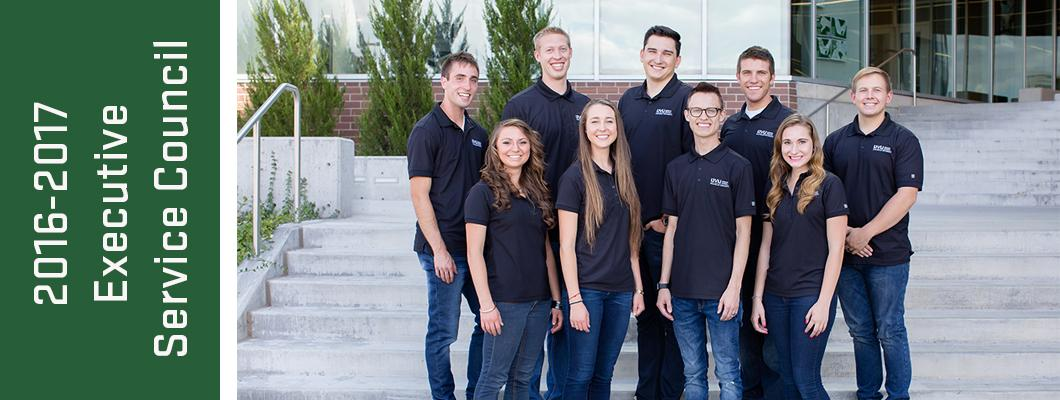Image of nine students on the 2016-2017 Executive Service Council
