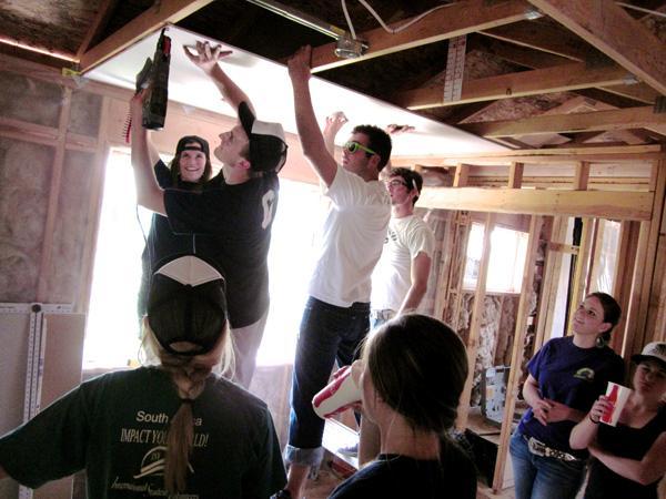 Adding ceiling walboard