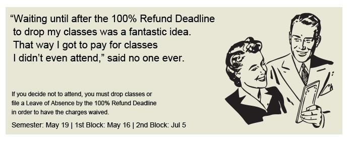 Drop your classes no later than the 100% Refund Deadline.