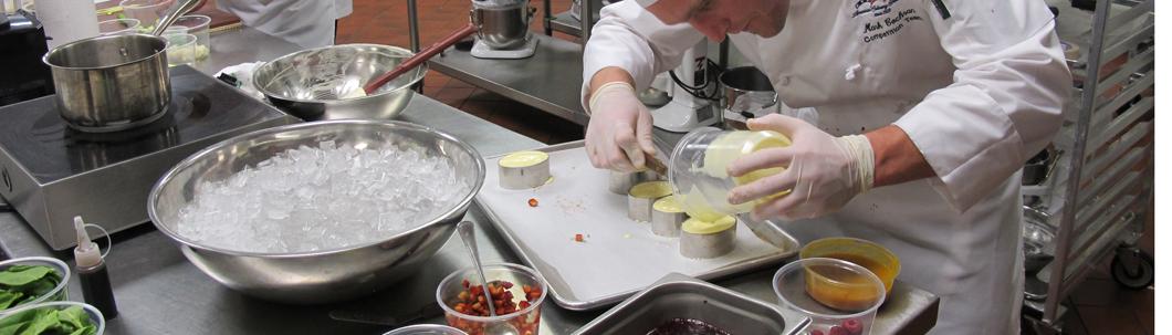 Preparing desserts.