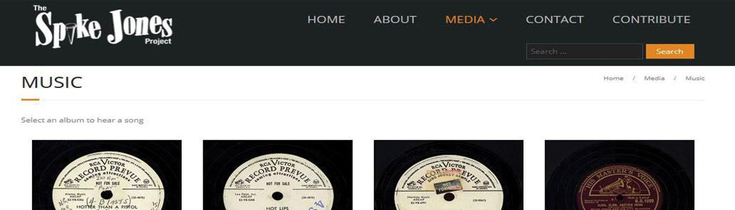 Screenshot of the ongoing Digital Audio Spike Jones Project website.