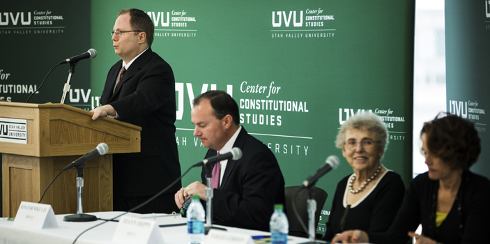 Senator Mike Lee and Professors Sally Gordon and Jan Shipps