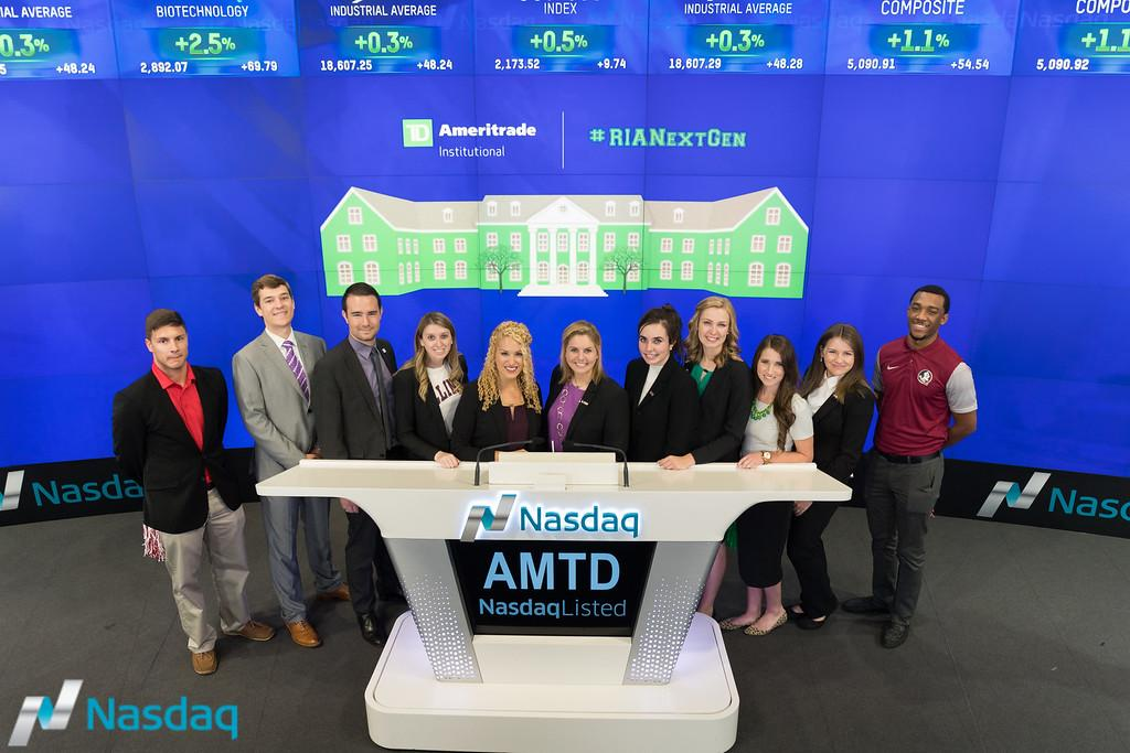 Woodbury School of Business personal financial planning (PFP) students. Tiffany Peterson, Gerika Ballard, Brittany Frampton and Brian Miller won $5,000 scholarships each from TD Ameritrade Institutional.