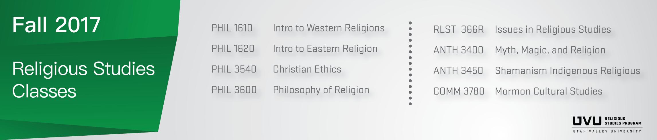Fall 2017 Religious Studies Classes