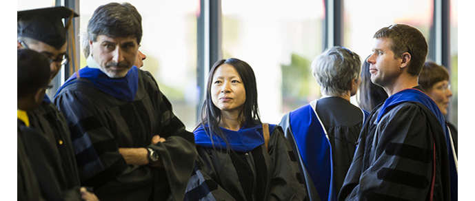 Faculty Preparing for Commencement