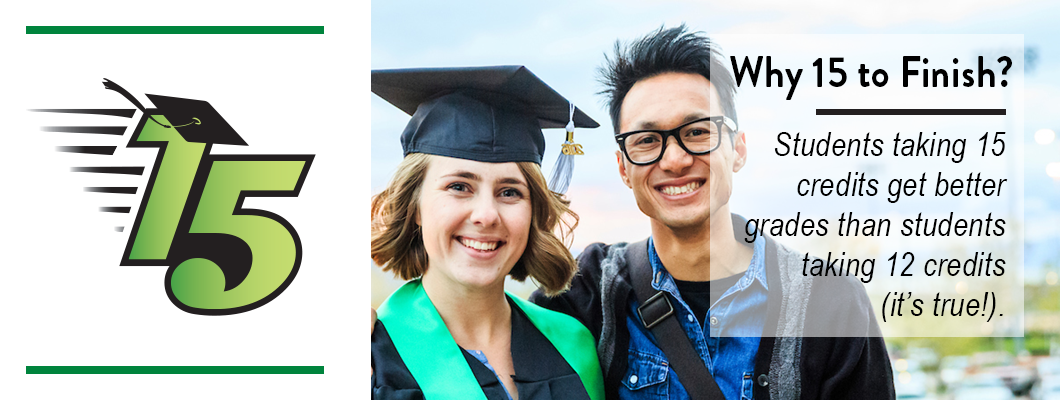 """Smiling graduate in cap and gown standing next to her smiling husband. """"Why 15 to Finish? Students taking 15 credits get better grades than students taking 12 credits (it's true!)."""