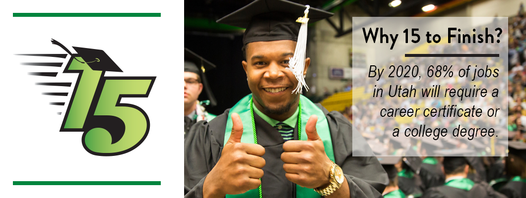 """Happy graduate in cap and gown holding two thumbs up! """"Why 15 to Finish? By 2020, 68% of jobs in Utah will require a career certificate or a college degree."""""""