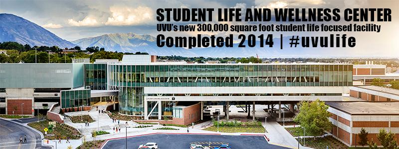 Student Life and Wellness Building with statistics