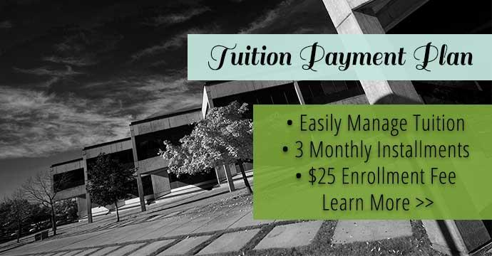 Tuition Payment Plan. 3 monthly installments. $25 enrollment fee. Homepage slider.