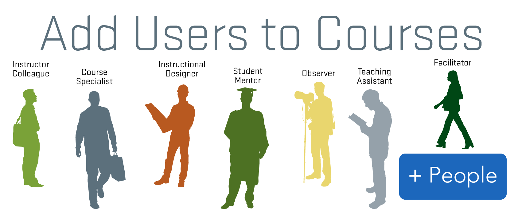 Canvas, diagram on how to add users to courses.
