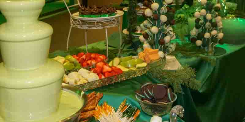 Buffet table with chocolate fountain