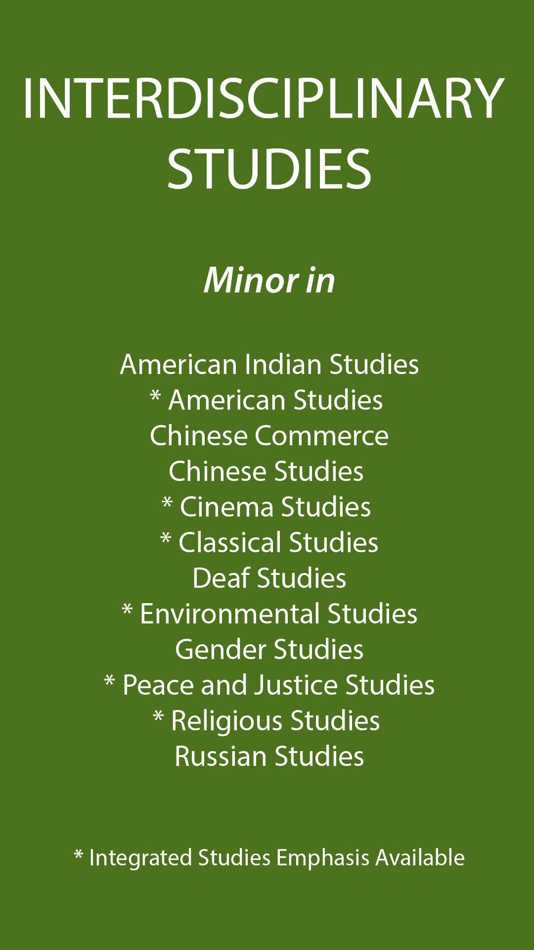 Interdisciplinary Studies Minors degree