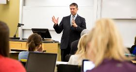 Talking to a class of students