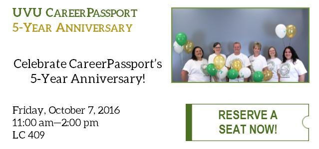 Celebrate CareerPassport's 5-Year Anniversary! Friday, October 7th, 11 am - 2 pm in LC 409. Click for more information and to register to attend.