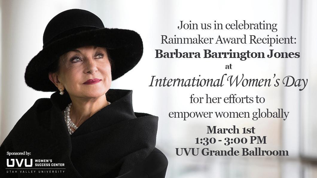 International Women's Day Rainmaker Award Recipient Barbara Barrington Jones