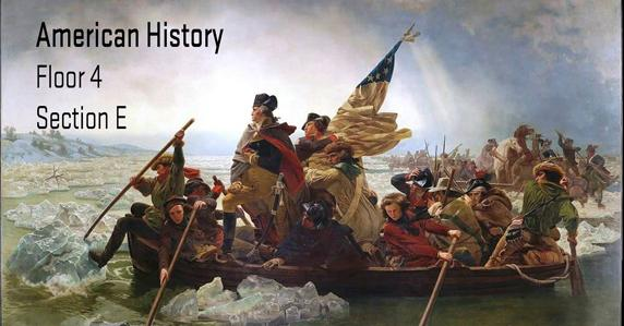 American colonists on a boat. American History materials can be found in section E of the 4th floor.
