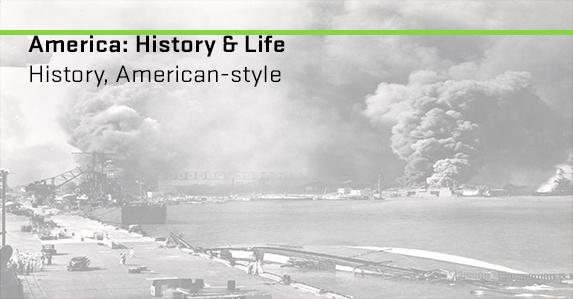 Ships on fire in Pearl Harbor. Ad for America: History & life database