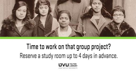 Vintage picture of black women. Time to work on that group project? Reserve a group study room up to 4 days in advance.