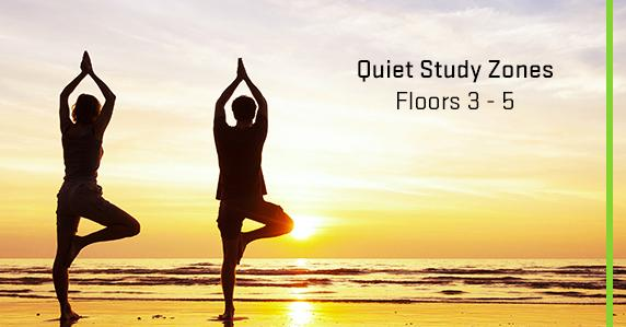Floors 3-5 are designated as quiet study floors