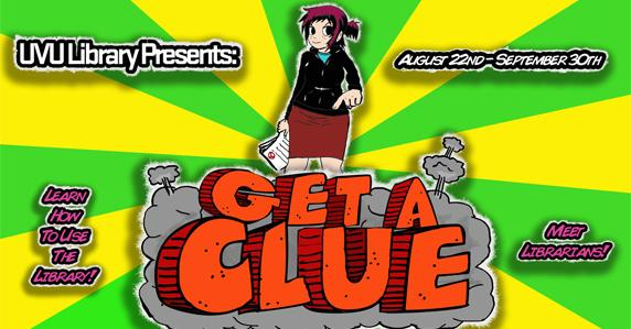 Ad for the Library's get a clue game.