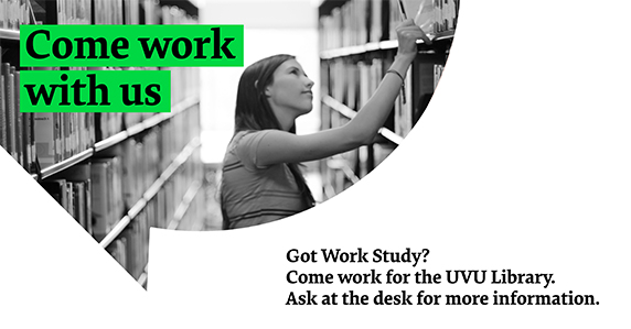 Ad for library work study job. Girl looking for book on shelf.