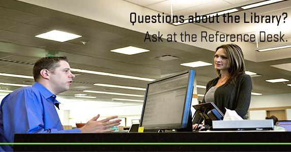 Librarian helping girl at the reference desk. Ad for getting help at the reference desk.