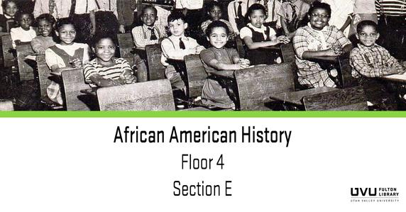 Black students in classroom. Books on African American History can be found in section E of the 4th floor.