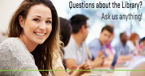 Girl in classroom. Ad for asking the library questions.