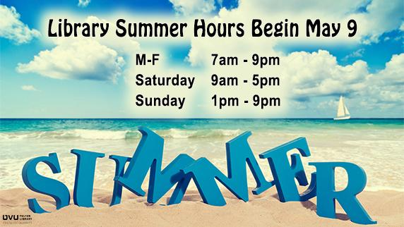 Beach. Library Summer hours begin may 9. M-F 8am-9pm. Saturday 9am-5pm. Sunday 1pm-9pm.