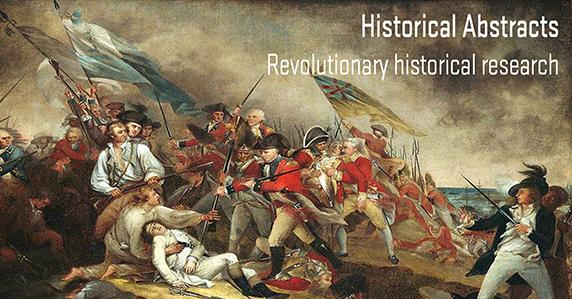 American revolutionary war scene. Ad for historical abstracts database.