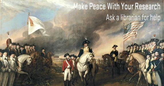 American and British soldiers on horses. Make peace with your research. Ask a librarian for help.